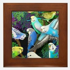 Budgerigars in Ferns Framed Tile
