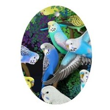 Budgerigars in Ferns Oval Ornament