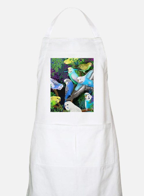 Budgerigars in Ferns Apron