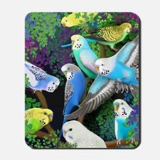 Budgerigars in Ferns Mousepad