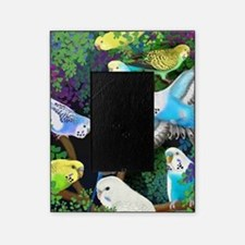 Budgerigars in Ferns Picture Frame