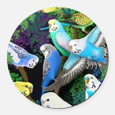 Budgerigars in Ferns Round Car Magnet