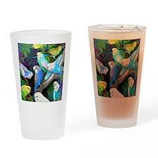 Budgerigars in Ferns Drinking Glass