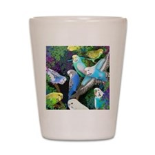 Budgerigars in Ferns Shot Glass