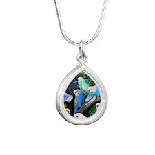 Budgerigars in Ferns Silver Teardrop Necklace