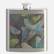 Budgerigars in Ferns Flask