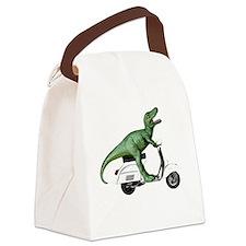 t-rex vintage scooter Canvas Lunch Bag