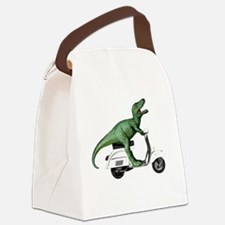 t-rex vintage scooter Canvas Lunch Bag