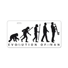 evolution of man bass clari Aluminum License Plate