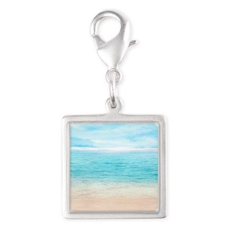 Beautiful Beach Silver Square Charm