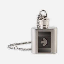 Canadian Flag Brushed Metal Canada Flask Necklace