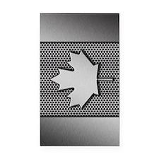 Canadian Flag Brushed Metal C Rectangle Car Magnet