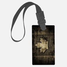 Canadian Flag Grunge Metal Luggage Tag