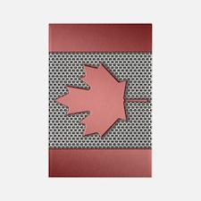 Canadian Flag Brushed Metal Rectangle Magnet