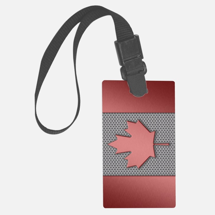 Canadian Flag Brushed Metal Luggage Tag