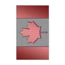 Canadian Flag Brushed Metal Rectangle Car Magnet