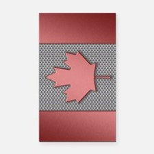 Canadian Flag Brushed Metal Rectangle Car Magnet