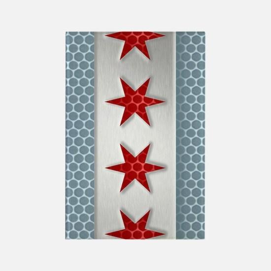 Chicago Flag Brushed Metal Rectangle Magnet
