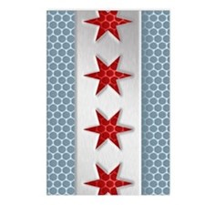 Chicago Flag Brushed Meta Postcards (Package of 8)