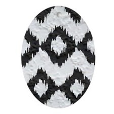 Ikat Black and White Plaster Pattern Oval Ornament