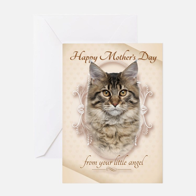Funny Maine Coon Cat Mothers Day Cards