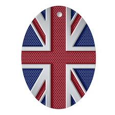 Union Jack Brushed Metal Flag Oval Ornament