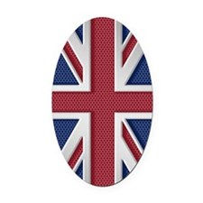 Union Jack Brushed Metal Flag Oval Car Magnet