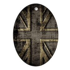 Union Jack Brushed Metal Grunge Oval Ornament