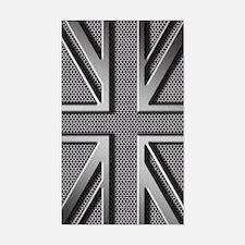 Union Jack Brushed Metal Sticker (Rectangle)