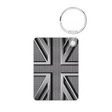 Union Jack Brushed Metal Keychains