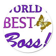 Worlds Best Boss (Butterfly) Round Car Magnet