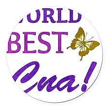 Worlds Best CNA (Butterfly) Round Car Magnet