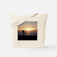 Playing Golf At Sunset Tote Bag
