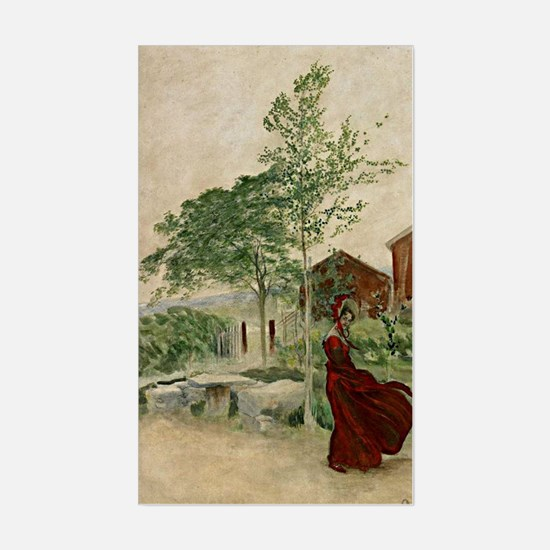 Carl Larsson - Gust of Wind. C Sticker (Rectangle)