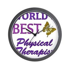 Worlds Best Physical Therapist (Butterf Wall Clock