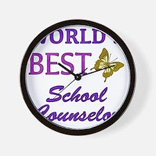 Worlds Best School Counselor (Butterfly Wall Clock