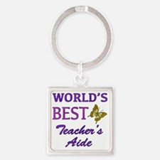 Worlds Best Teachers Aide (Butterf Square Keychain