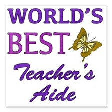 "Worlds Best Teachers Aid Square Car Magnet 3"" x 3"""