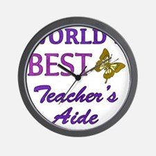 Worlds Best Teachers Aide (Butterfly) Wall Clock