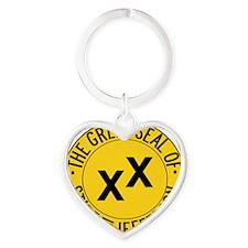 State of Jefferson Seal Heart Keychain