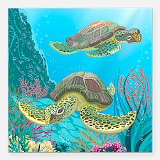 "Cute Sea Turtles Square Car Magnet 3"" x 3"""