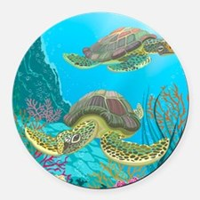 Cute Sea Turtles Round Car Magnet