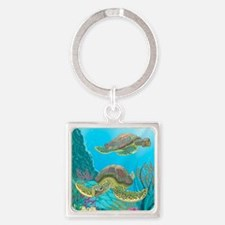 Cute Sea Turtles Square Keychain