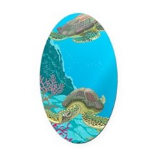 Cute Sea Turtles Oval Car Magnet