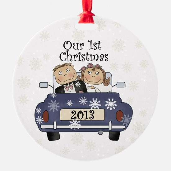 Just Married 1st Christmas 2013 Ornament