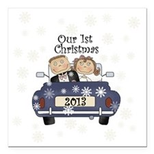 """Just Married 1st Christm Square Car Magnet 3"""" x 3"""""""