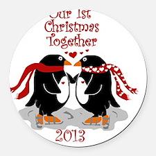Penguins 1st Christmas Together Round Car Magnet