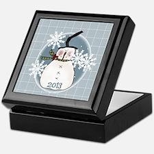 Stovepipe Hat Snowman 2013 Keepsake Box