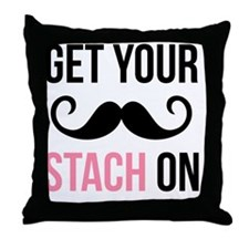 Get Your Stach On Throw Pillow