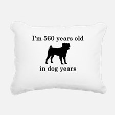 80 birthday dog years pug Rectangular Canvas Pillo
